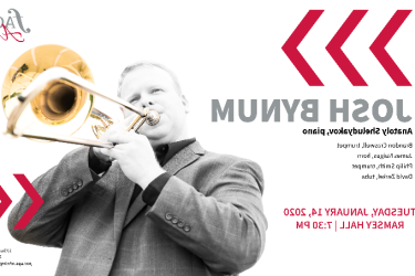 graphic with photo of man playing trombone, red letters